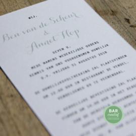 Trouwkaart Ben & Annet