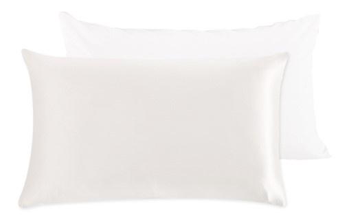 Peace Silk zijden kussensloop - wit  | Perkal katoenen achterkant