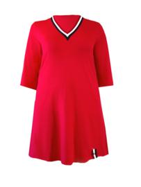Shirtjurk 100 cm lang drie kleuren V-hals rood