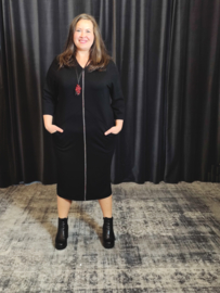 Lange jurk met zakken zwart