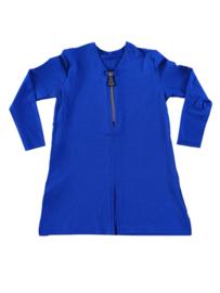 Kobaltblauwe  meisjes sweatjurk met ritssluiting