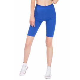 Korte kobaltblauwe katoenen legging grote maat