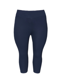 Legging brede tailleband driekwart donkerblauw