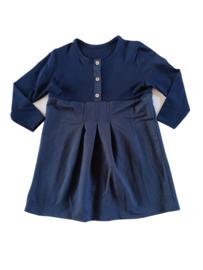 Donkerblauwe meisjes jurk met knopen