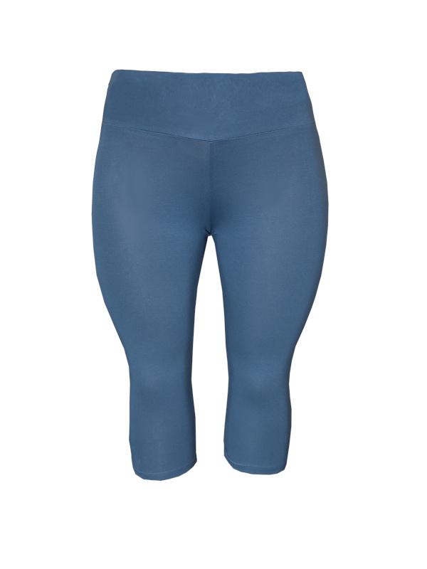 Legging brede tailleband driekwart denim blauw maat 36,38 en 54,56