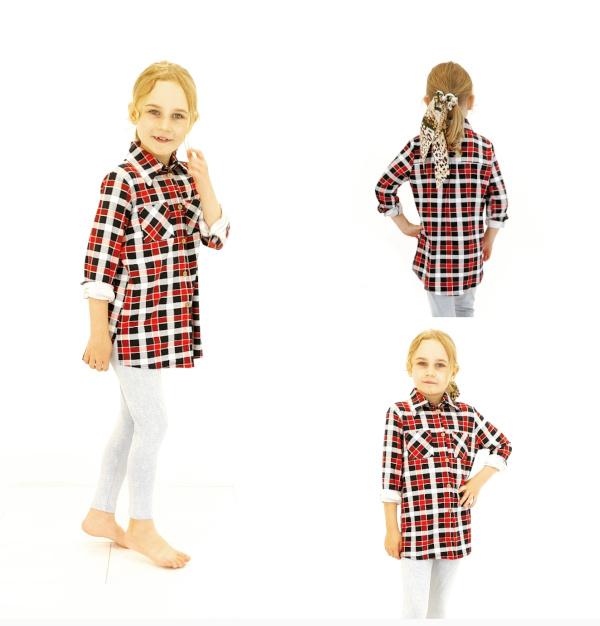 BAM Mode meisjes geruite blouse long
