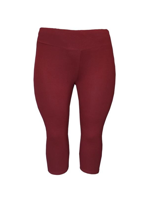Legging brede tailleband driekwart bordeaux rood