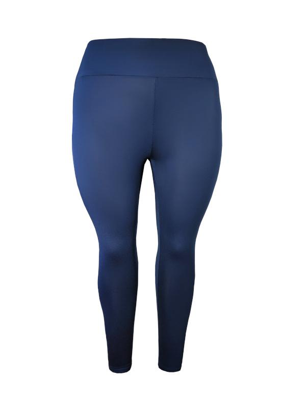 Legging brede tailleband viscose donkerblauw