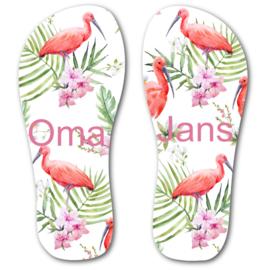 Slippers met naam Flamingo