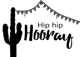 Hip hip hooray postcard