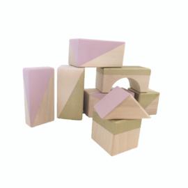 Geometrische blokken set Blush pink/gold