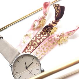 Leopard taupe elastische armband/haarelastiek