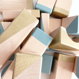 Geometrische blokken set Breezy blue/gold