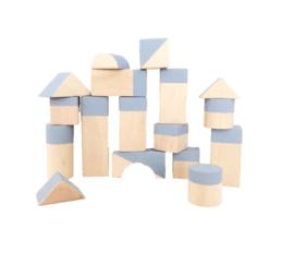 Blauwe geometrische blokken