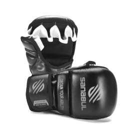 Sanabul Essential 7 oz MMA Hybride Sparringhandschoenen - zwart, zilver