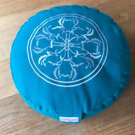 Flowee Meditatiekussen rond klein turquoise