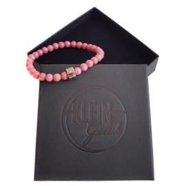 Dames armband roze rhodoniet 6mm