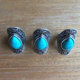 Boho love ring met turquoise steen