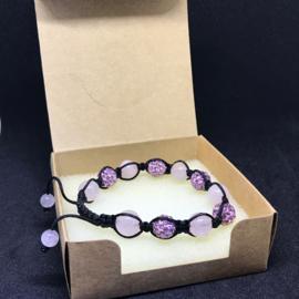Shamballa armband Roze kwarts