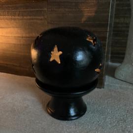 Theelichthouder Ball/ stars black