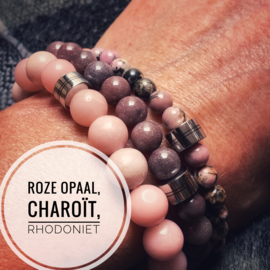 Dames armband Roze Opaal 10 mm Limited edition