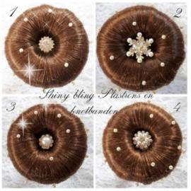 Knot pins en haarnet met  parels bruin