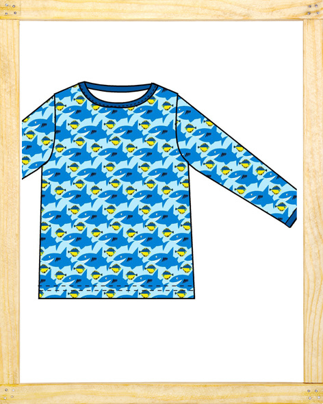 Duns longsleeve Shark lightblue