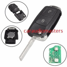 Complete sleutel voor Volkswagen 202AD  Amarok - Beetle - Bora - Kever - Golf -  Polo - Transporter - klapsleutel 2- ID48 chip - Sleutelblad HU66