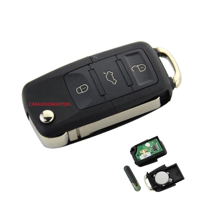 autosleutel geschikt voor Volkswagen klapsleutel 3 knoppen 434 Mhz - ID48 transponder chip - Sleutelblad HU66 Golf MK4 Passat Bora Beetle remote key auto sleutel
