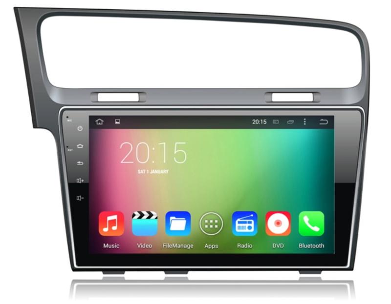 10.1 inch radio navigatie passend op golf 7 android quadcore 2013 2014 2015 grijs geborsteld, zwart, grijs, zilvergrijs