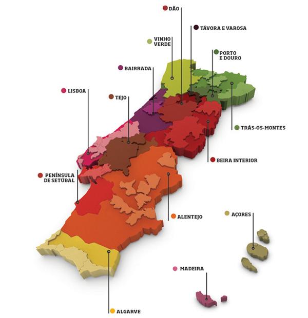 Enkele wijnregio's in Portugal