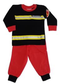 Pyjama Brandweer zwart met rode broek