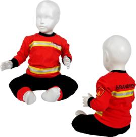 Brandweer pyjama rood met zwarte broek