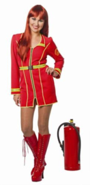 Brandweer jurkje rood met gele bies