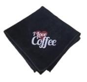 "BLACK MICROFIBER DOEK 40x40cm ""I LOVE COFFEE"""