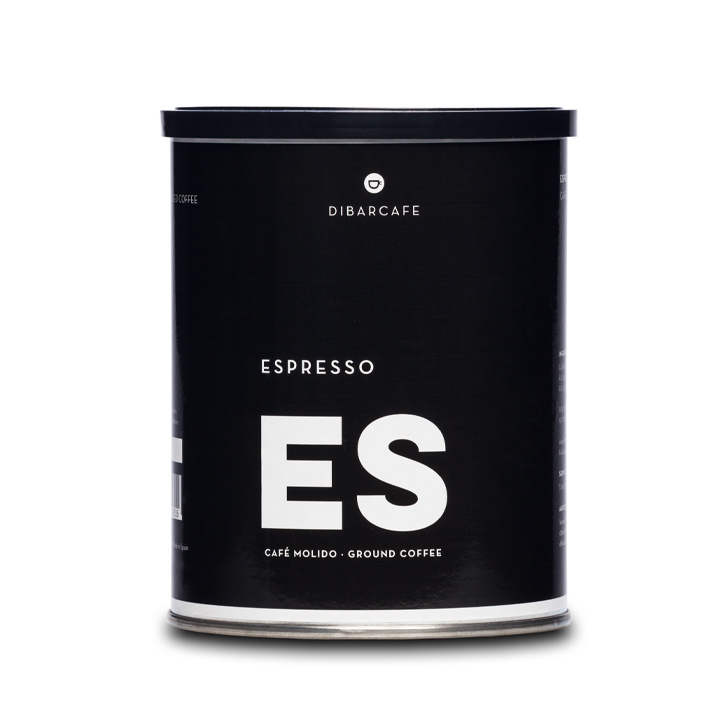 Dibarcafé Espresso – gemalen koffie 250 gram (16 blikken)