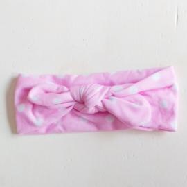 Knoophaarbandje roze stip