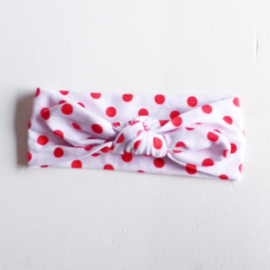 Knoophaarbandje wit met rode stip