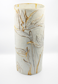 Strelitzia Porcelain Vase with 14k gold