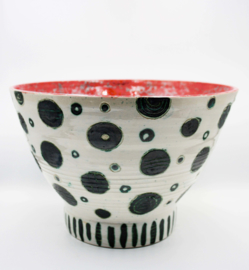 Echo's from the Past - Red Black White Medium Salad bowl