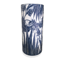 Blue Lily & Palm Large Vase