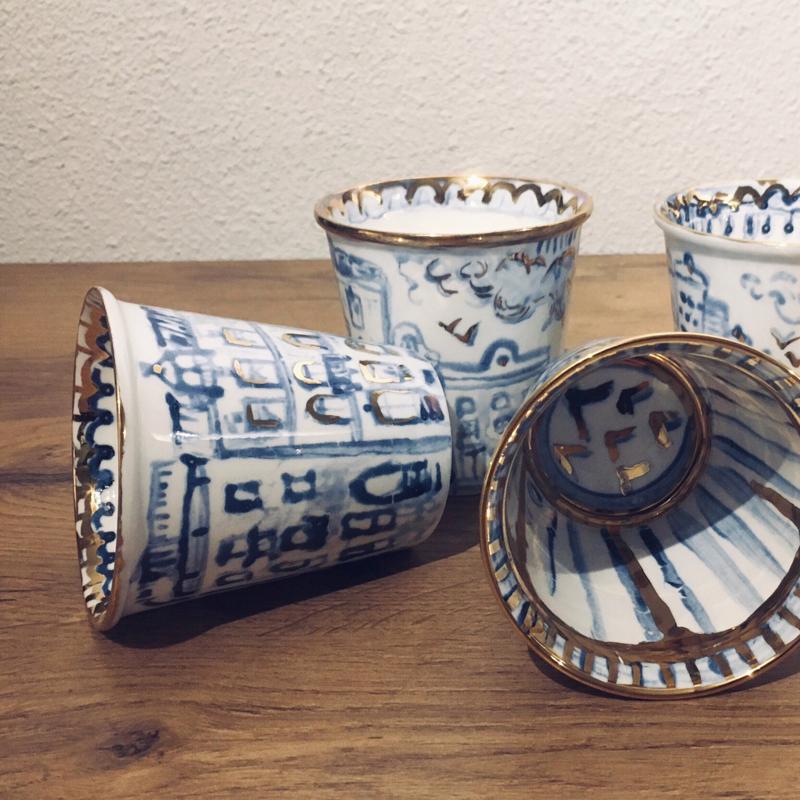 Handmade Custom Design Cups with Gold 24c