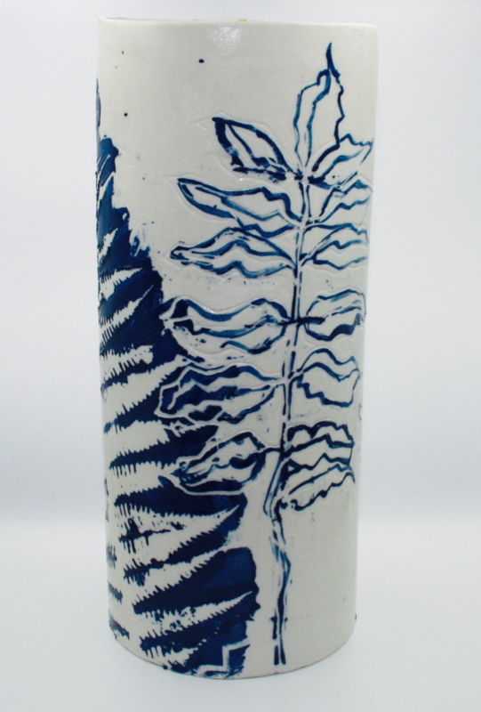 Fern Porcelain Vase- Blue & White Series