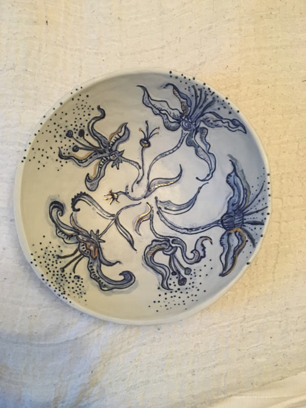 Blue Lily Salad Serving Bowl with gold 24c