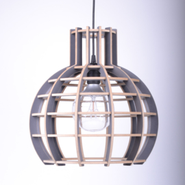 Houten hanglamp 'Globe' | grijs