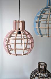 Houten hanglamp 'Globe' | oud rose