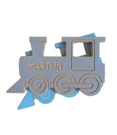 Houten trein met naam