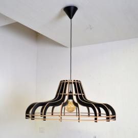 Houten plafondlamp 'Flat 70d' | naturel, grijs, zwart
