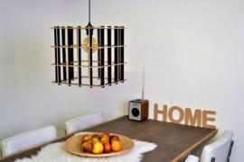 Houten lamp 'Cube 34' | naturel, grijs, zwart