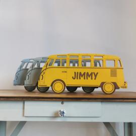 Houten VW bus met naam